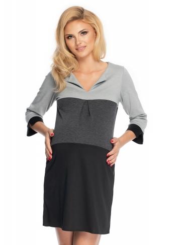 Be Maamaa Tehotenské šaty so širokými pruhmi, 3/4 rukáv - čierna/sivá, veľ. L/XL