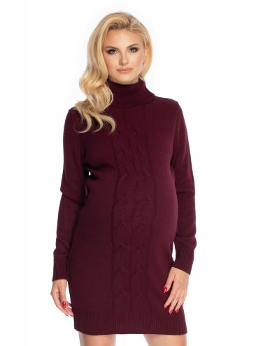 Be Maamaa Dlhý tehotenský sveter, šaty pletený vzor - bordo