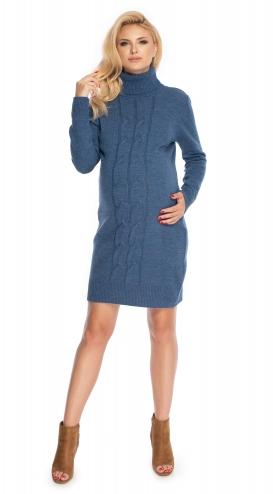 Be Maamaa Dlhý tehotenský sveter, šaty pletený vzor - jeans