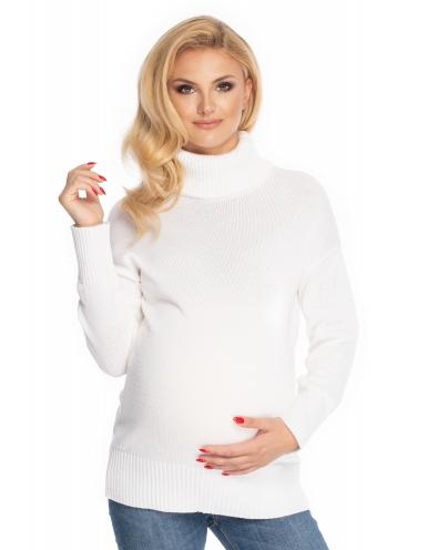 Be Maamaa Tehotenský sveter, rolák - biely