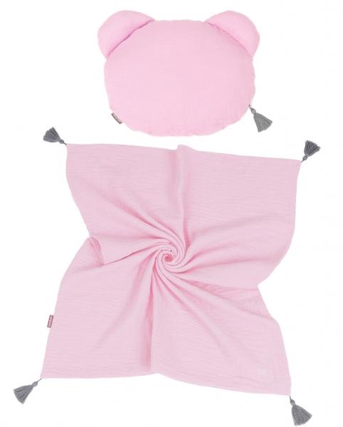 Mamo Tato mušelínová sada vankúšik Teddy Lux double s dekou 70x90cm - svetlo ružová