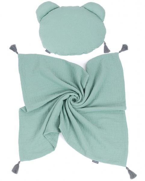 Mamo Tato mušelínová sada vankúšik Teddy Lux double s dekou 70x90cm - zelená