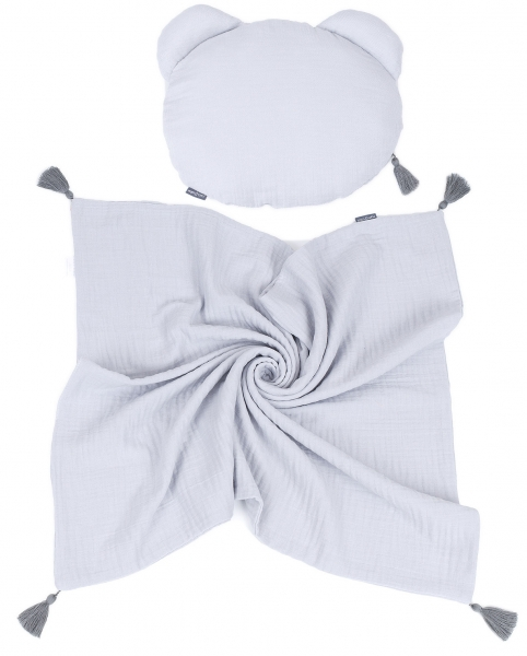 Mamo Tato mušelínová sada vankúšik Teddy Lux double s dekou 70x90cm -  svetlo šedá