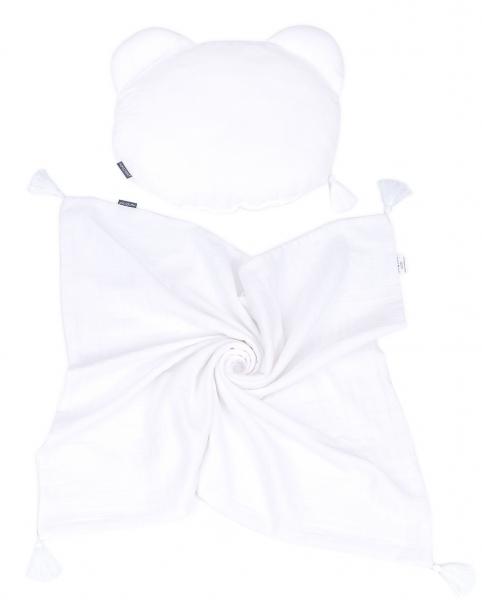 Mamo Tato mušelínová sada vankúšik Teddy Lux double s dekou 70x90cm - biela