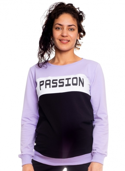 Be Maamaa Tehotenská, dojčiace mikina Passion, fialová-čierna-biela, veľ. XL