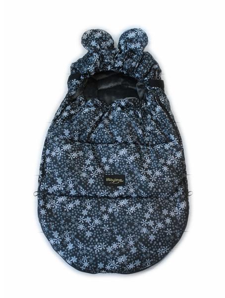Baby Nellys nepremokavý fusak s uškami MIKI, fleece Velvet 90 x 50 cm - čierna s hviezdami