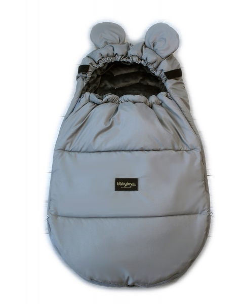 Baby Nellys nepremokavý fusak s uškami MIKI, fleece Velvet 90 x 50 cm - siva
