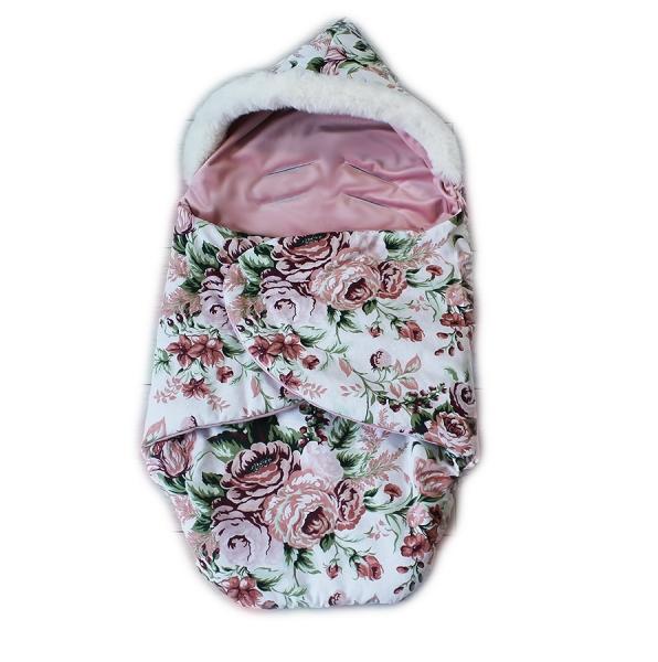 Baby Nellys zavinovacie fusak s kožušinkou Škriatok, dĺžka 85 cm - čierny/divokej ruže
