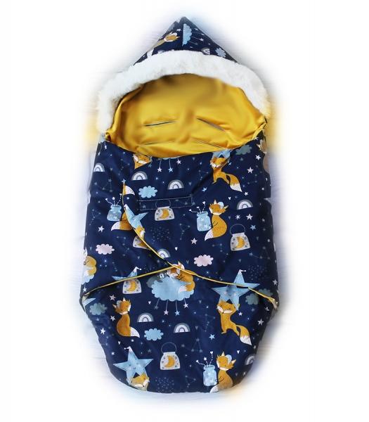 Baby Nellys zavinovacie fusak s kožušinkou Škriatok, dĺžka 85 cm -  líška a nočná obloha