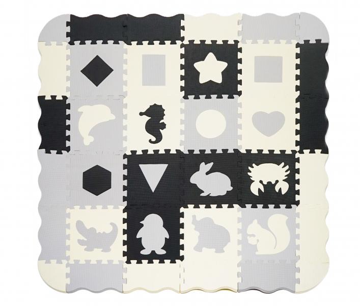 TULIMI Detske penové  puzzle 143x143cm, hracia deka, podložka na zem- zvieratka, tvary