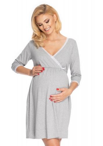 Be Maamaa Tehotenská, dojčiace nočná košeľa s čipkou, 3/4 rukáv - sivá, veľ. L/XL