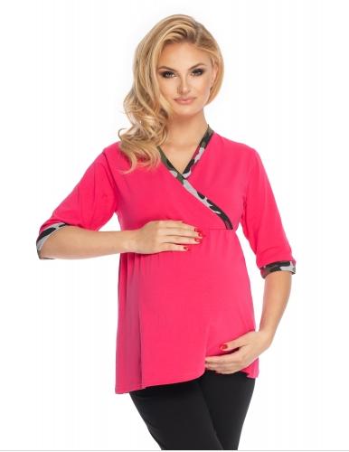 Be Maamaa Tehotenské, dojčiace pyžamo 3/4 rukáv - ružová, čierna-#Velikosti těh. moda;S/M