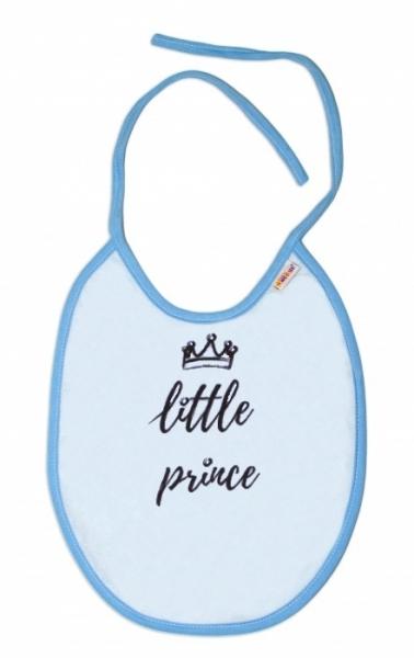 Nepromokavý podbradník, 24 x 23 cm Baby Nellys veľký Little prince - sv. modrá