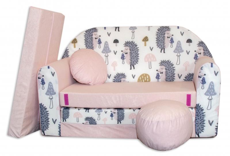 Rozkladacia detská pohovka Nellys ® AX1 - Ježko, růžová