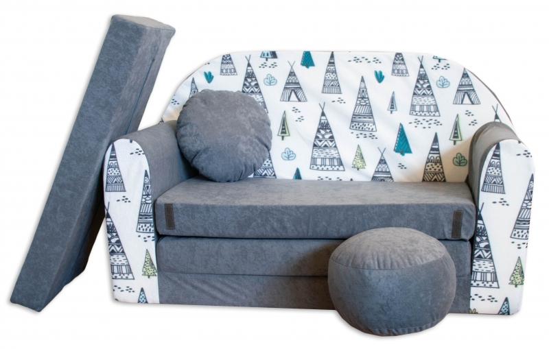 Rozkladacia detská pohovka Nellys ® AJ3 - típí, sivá /biela