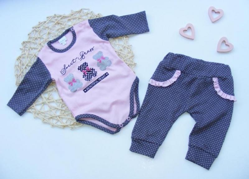 G-baby 2-dielna dojčenská sada Medvedíky, ružovo-šedá