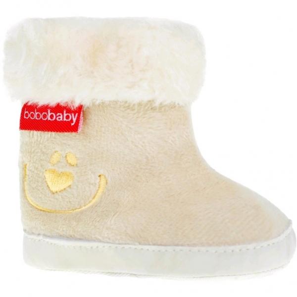 Zimné topánočky BOBO BABY s kožušinkou - Macko - ecru