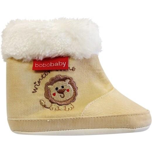 Menčestrové zimné topánočky BOBO BABY s kožušinkou - Lvíček - ecru