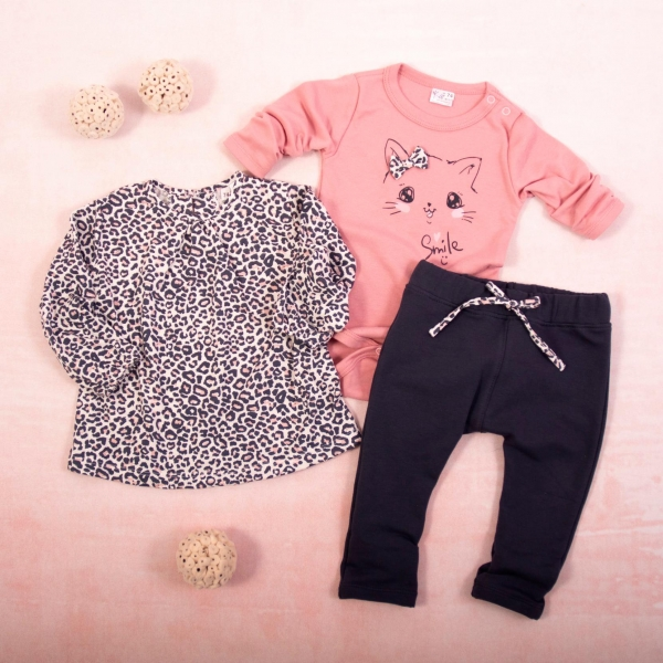 K-Baby 3 dielna sada - 1x body dlhý rukáv, tunika, legíny, Gepardík - grafit, púdrová