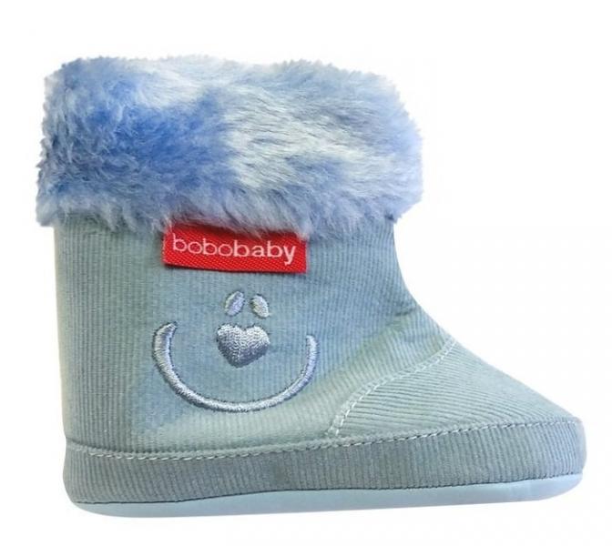 Menčestrové zimné topánočky BOBO BABY s kožušinkou - Medvedík - modré