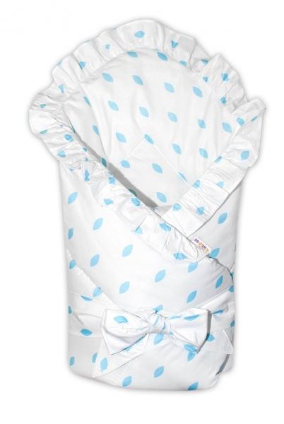 Baby Nellys  Rychlozavinovačka 80x80cm s volánkom a stuhou - biela, lístočky modré