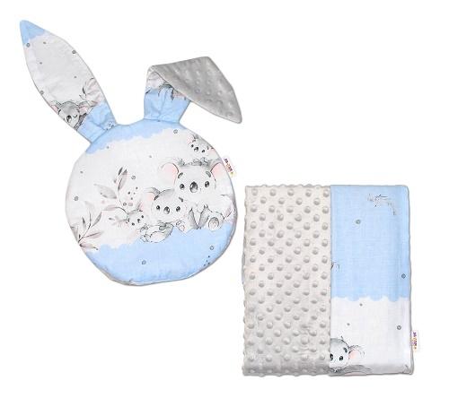 Baby Nellys 2-dielna sada do kočíka s Minky s uškami - Koala, modrá