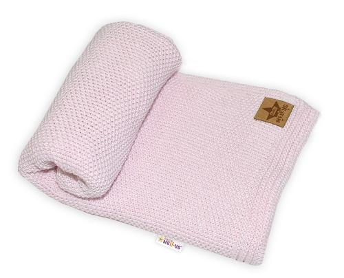 Baby Nellys Úpletová deka, 80x90cm - ružová