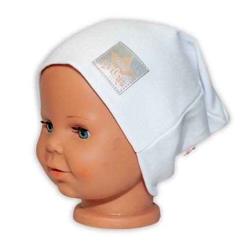 Baby Nellys Hand Made Detská funkčná čiapka s dvojitým lemom - biela