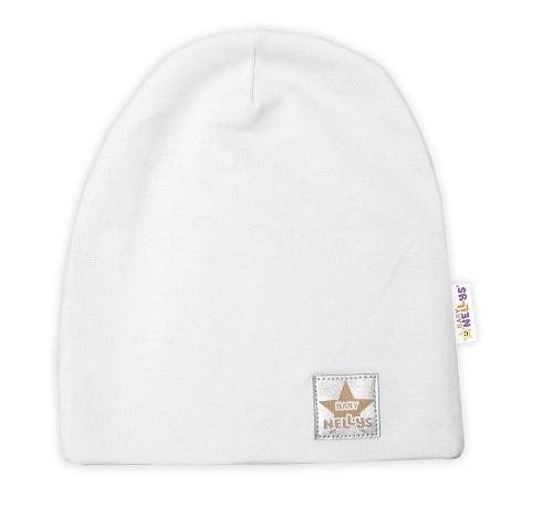 Baby Nellys Hand Made Detská funkčná čiapka s dvojitým lemom - biela, obvod: 52-54cm