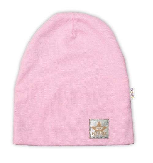 Baby Nellys Hand Made Detská funkčná čiapka s dvojitým lemom - sv. růžová