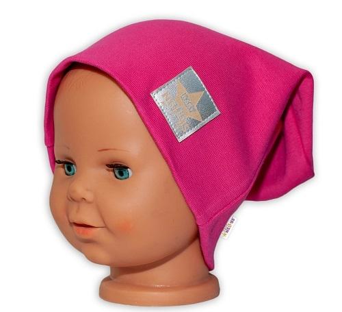 Baby Nellys Hand Made Detská funkčná čiapka s dvojitým lemom - tm. růžová, obvod: 52-54cm-52/54 čepička obvod