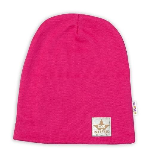 Baby Nellys Hand Made Detská funkčná čiapka s dvojitým lemom - tm. růžová, obvod: 52-54cm