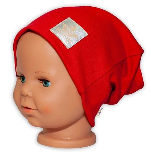 Baby Nellys Hand Made Detská funkčná čiapka s dvojitým lemom - červená, obvod: 52-54cm-52/54 čepička obvod