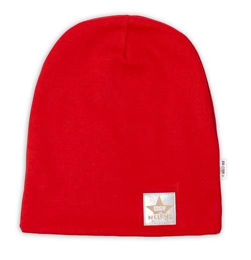Kojenecká Hand Made  funkčná čiapka s dvojitým lemom - červená, obvod: 52-54cm