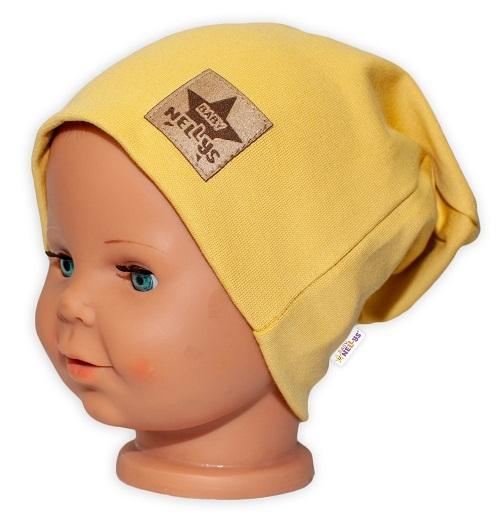 Baby Nellys Hand Made Detská funkčná čiapka s dvojitým lemom - horčicová, obvod: 52-54cm