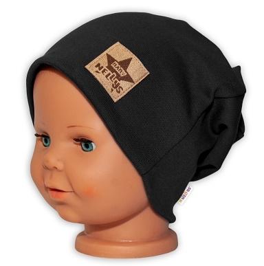 Baby Nellys Hand Made Detská funkčná čiapka s dvojitým lemom - čierna