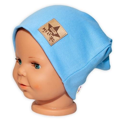 Baby Nellys Hand Made Detská funkčná čiapka s dvojitým lemom - sv. modrá, obvod: 52-54cm-52/54 čepička obvod