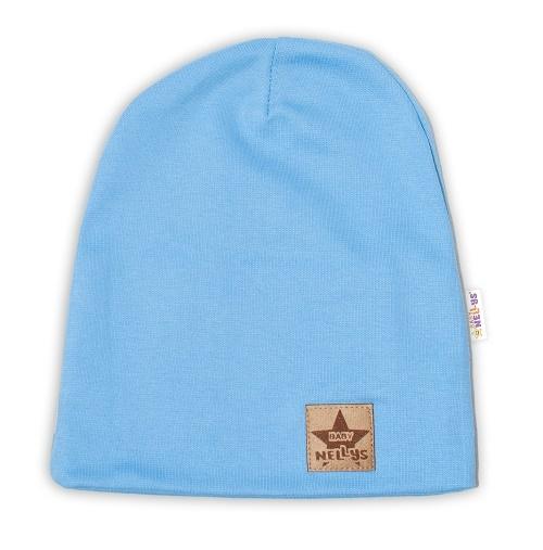 Baby Nellys Hand Made Detská funkčná čiapka s dvojitým lemom - sv. modrá, obvod: 52-54cm