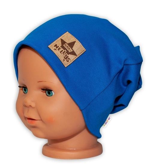 Baby Nellys Hand Made Detská funkčná čiapka s dvojitým lemom - tm. modrá