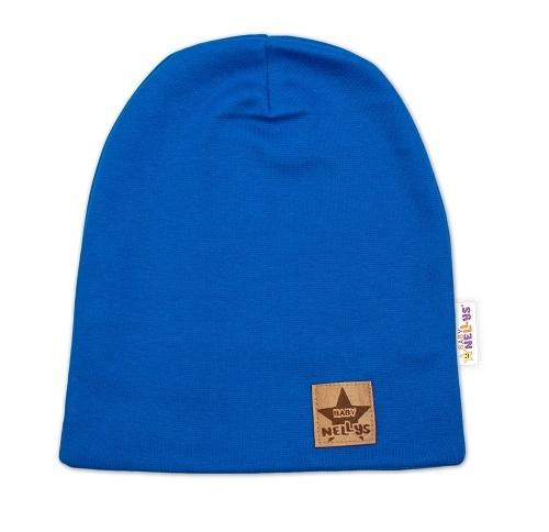Baby Nellys Hand Made Detská funkčná čiapka s dvojitým lemom - tm. modrá, obvod: 52-54cm