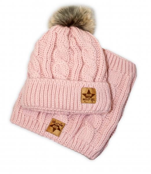 BABY NELLYS Zimná pletená čiapka s brmbolcom + komín, staroružová, veľ. 48-50 cm