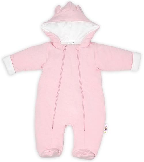 Baby Nellys ® Kombinézka s dvojitým zapínaním, s kapucňou a uškami, sv. růžová, veľ. 74