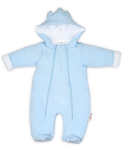 Baby Nellys ® Kombinézka s dvojitým zapínaním, s kapucňou a uškami, sv. modrá, veľ. 68
