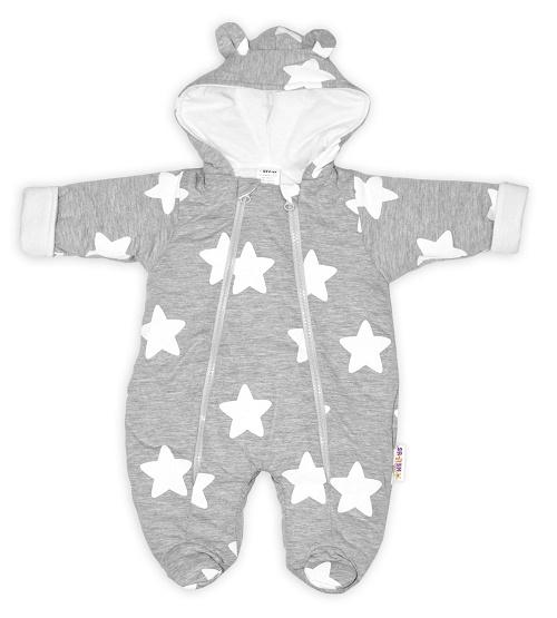Baby Nellys ® Kombinézka s dvojitým zapínaním, s kapucňou a uškami, Stars - šedá, veľ. 74