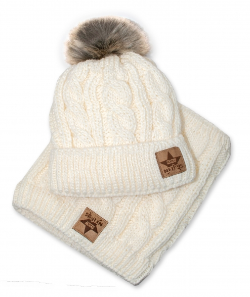 BABY NELLYS Zimná pletená čiapka s brmbolcom + komín, smotanová, veľ. 52-56cm