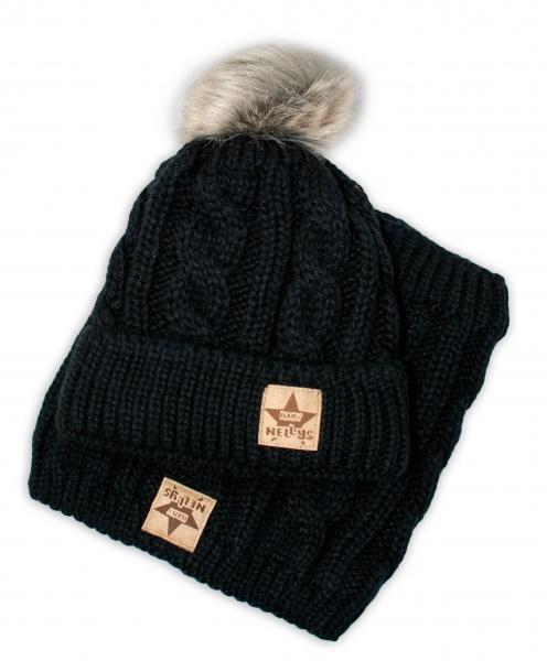 BABY NELLYS Zimná pletená čiapka s brmbolcom + komín, čierna, veľ. 52-56 cm