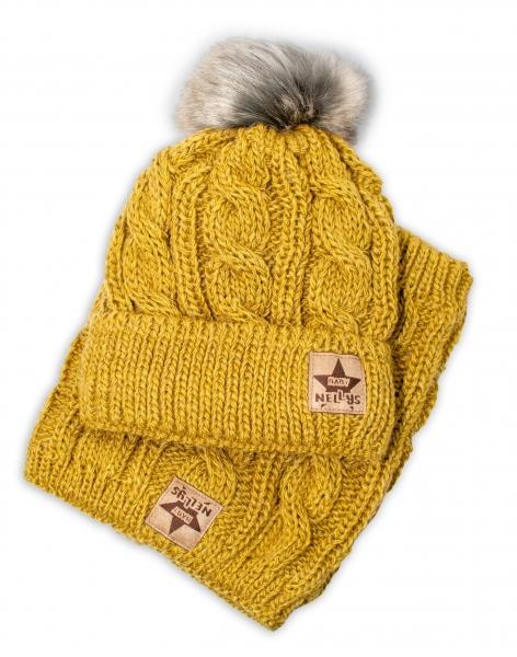 BABY NELLYS Zimná pletená čiapka s brmbolcom + komín, khaki, veľ. 52-56cm