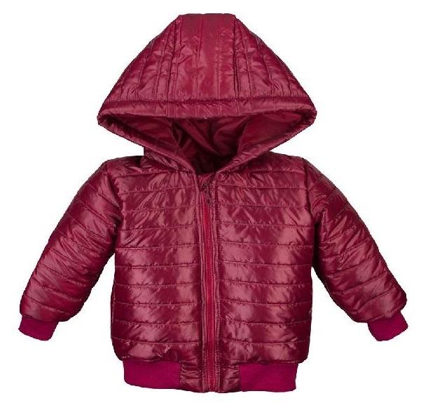 EEVI Detská prechodová, prešívaná bunda s kapucňou - bordo, veľ. 86