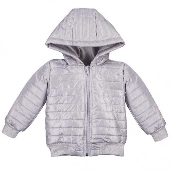 EEVI Detská prechodová, prešívaná bunda s kapucňou - sivá, veľ. 104