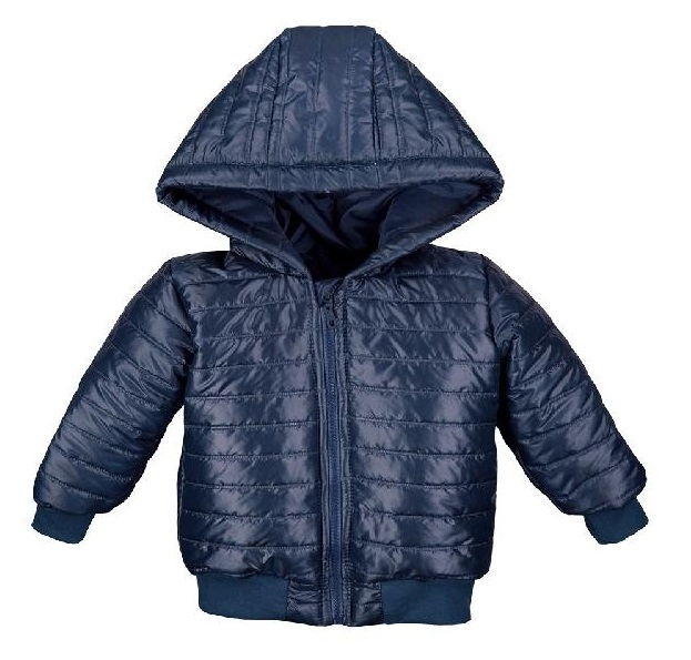 Detská jesenná prešívaná bunda s kapucňou - modrá, veľ. 98
